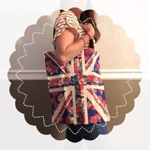 🇬🇧 🌹NWT Floral Union Jack Canvas Tote
